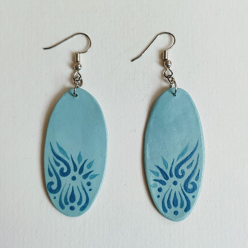 Green blues oval earrings