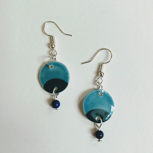 Teal, hunter green and lapis earrings