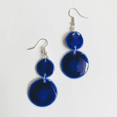 Cobalt double circle earrings
