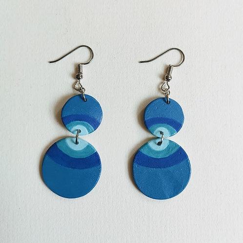 Blue rainbow double circle earrings