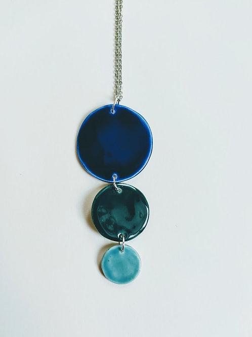 Three circle pendant, cobalt emerald teal glaze