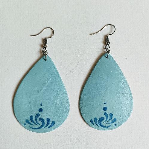 Green-teal drop earrings (L)