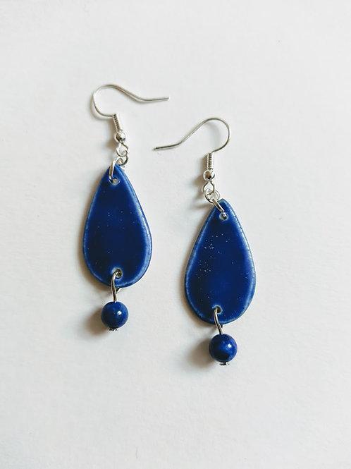 Denim effect earrings with lapis lazuli