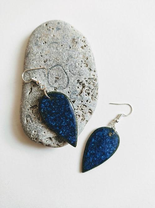 'Lapis effect' leaf earrings