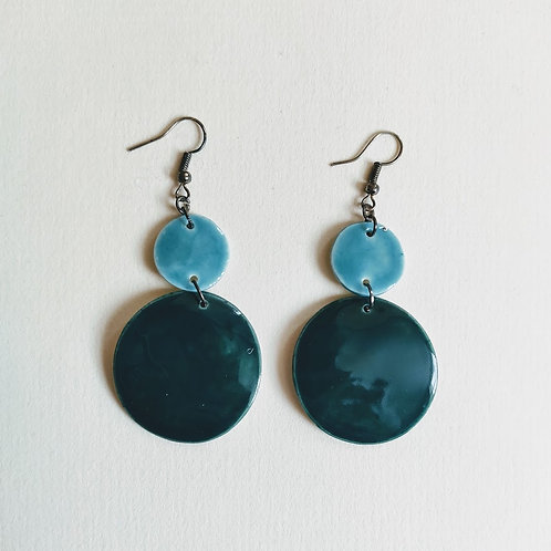 Emerald-teal double circle earrings