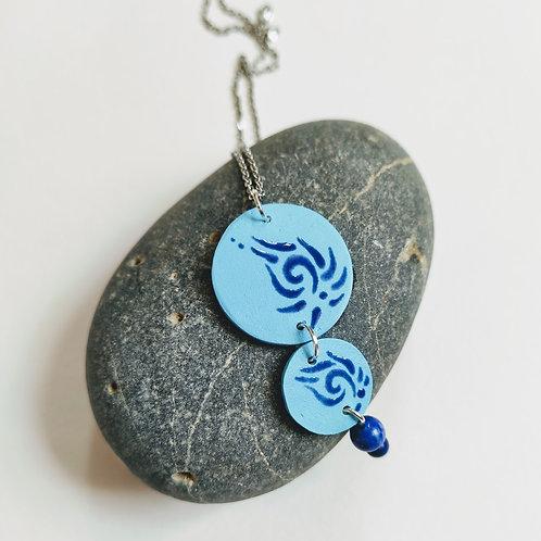 Blue swirl and lapis lazuli necklace