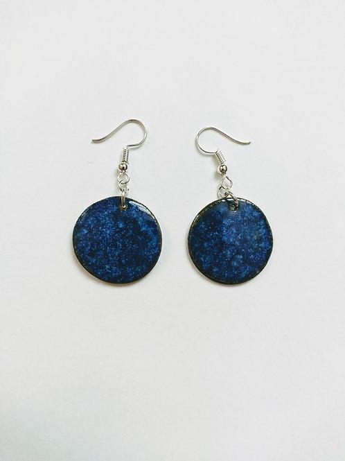 'Lapis effect' circle earrings (M)