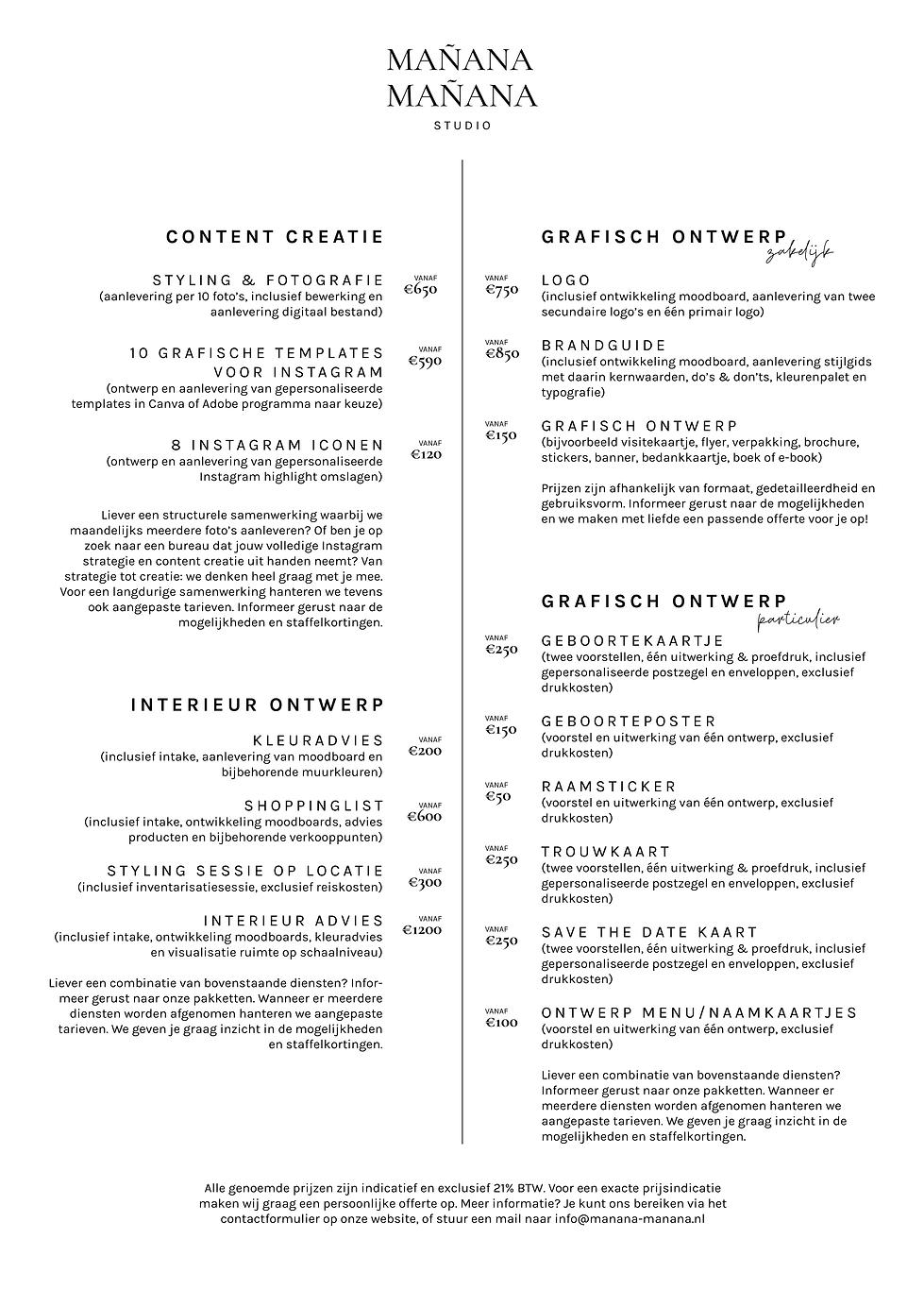 Mañana Mañana Studio tarieven website
