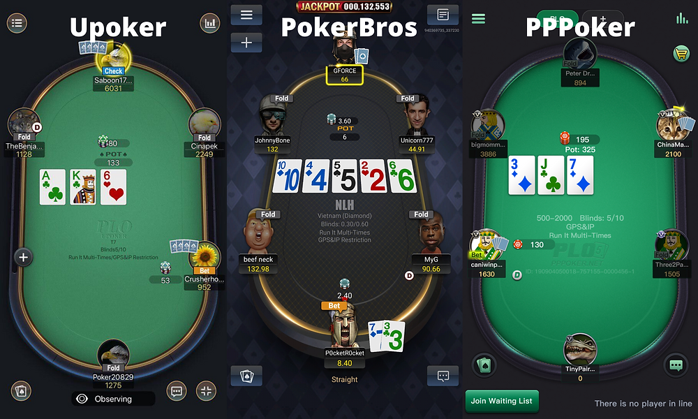 PPPoker Pokerbros Upoker tables