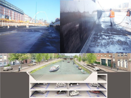 Novacell waterproofing on underground parking spaces in Amsterdam
