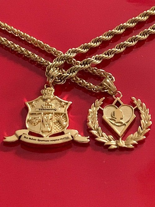 KAP Coat of Arms and Kappa Silhouette Pendent Combination