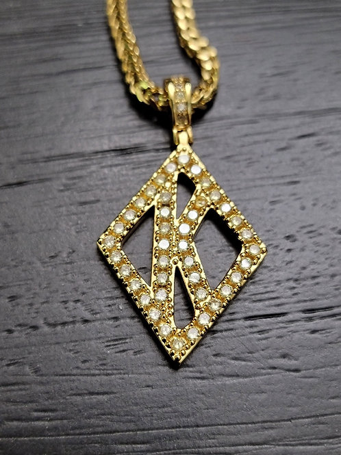 Floating K Yellow Diamond Studded (Gold)