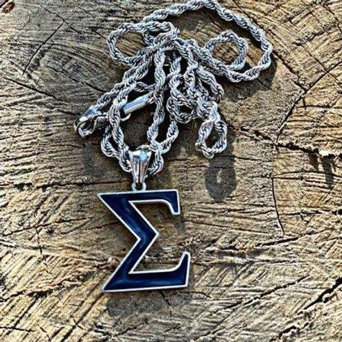 PBS Sigma Navy Blue Pendant (Silver)