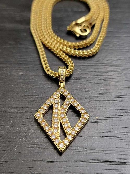Floating K Diamond Studded (Gold)