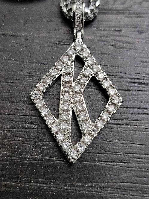 Floating K Diamond Studded (Silver)
