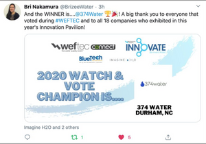 374Water wins the 2020 WEFTEC Innovation Pavilion Championship!