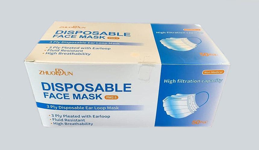 3 Ply Disposable Face Masks 50 Pcs