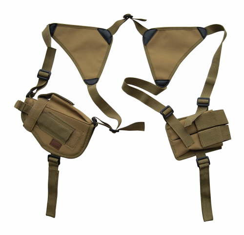 Tan Horizontal Shoulder Holster and Mag Pouch