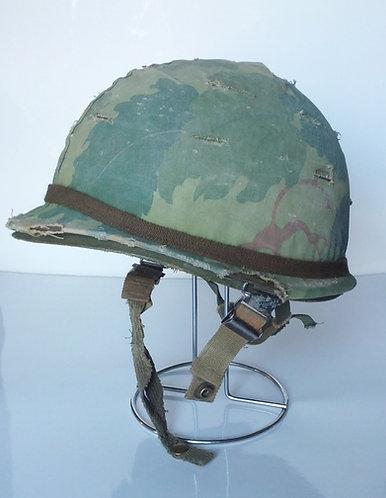Vintage US Army Surplus M1 Helmet w/ Oakleaf Cover