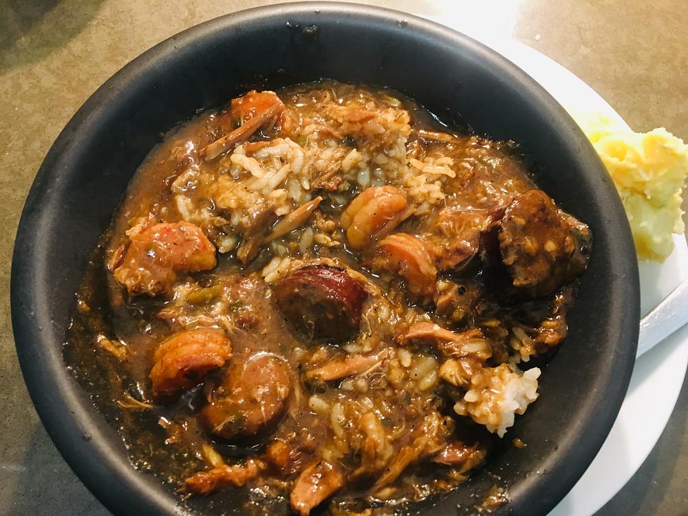 New Orleans Gumbo & Rice with Potato Salad