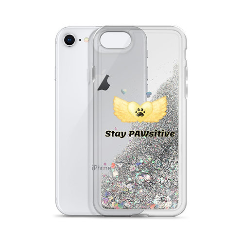 """Stay PAWsitive"" Liquid Glitter iPhone Case"