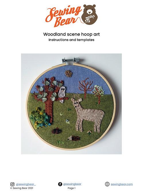 Woodland hoop art downloadable instructions