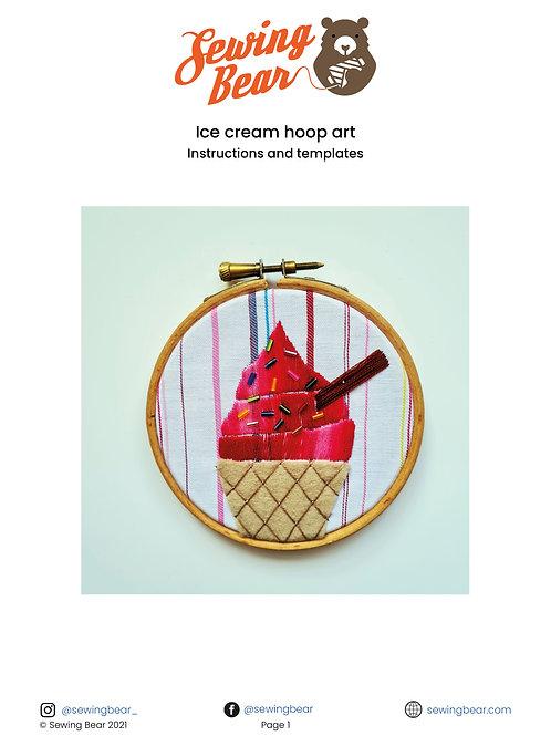 Ice cream hoop art downloadable instructions