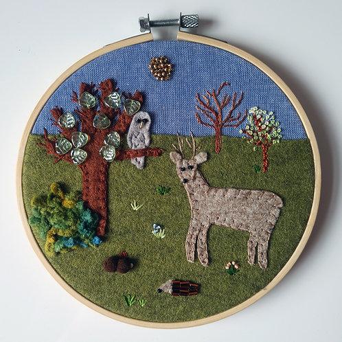 Woodland scene hoop art