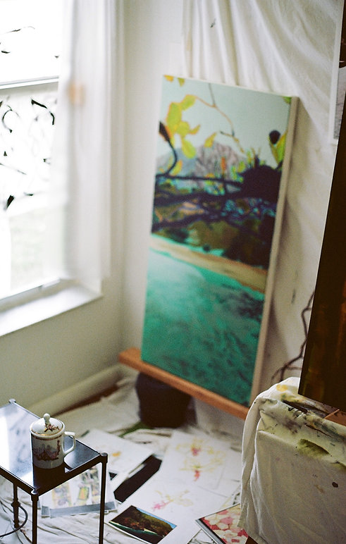 Intimate view of the painting studio of Tanzanight visual artist, taken by the artist on 35mm Kodak Ektar 100 film, in Miami, Florida, USA. Paintings in progress in oil on canvas, by Tanzanight, contemporary visual artist. Shown: Abstracted landscapes, Sumi-e ink paintings, and botanical illustrations.