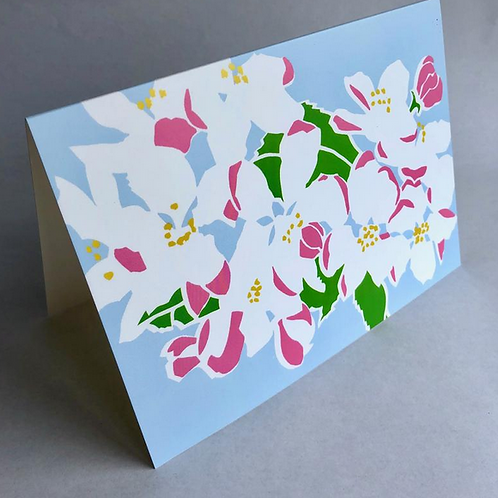 Apple blossom, contemporary flower greeting card