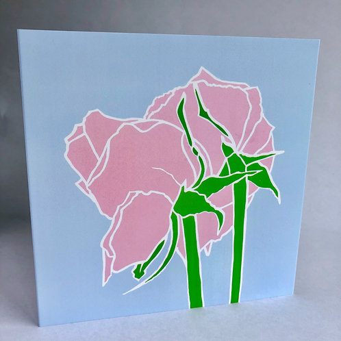 Two roses, contemporary flower greeting card