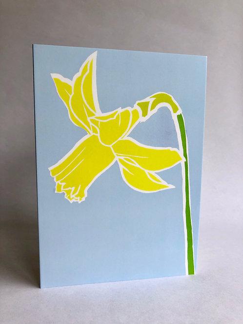Daffodil, contemporary flower greeting card