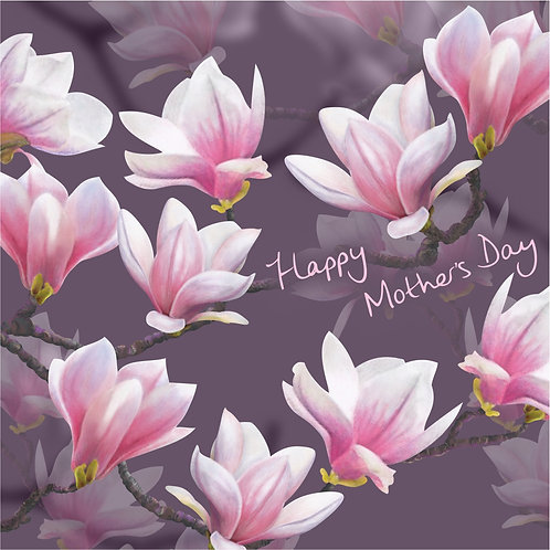 Flower Art / Floral Mother's day / Mothering Sunday Card 'Majestic Magnolia' (Blossoms)
