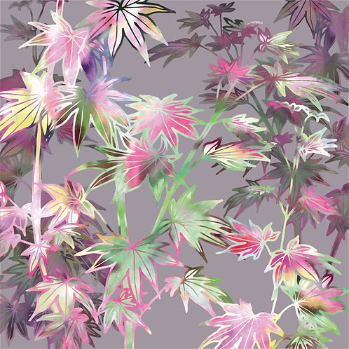 Flower Art / Floral Greeting Card 'Dusky Autumn Wishes' (Acer Leaves)