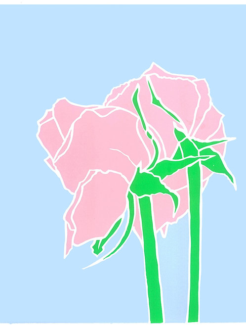 'Two roses', Limited edition, handmade silkscreen print