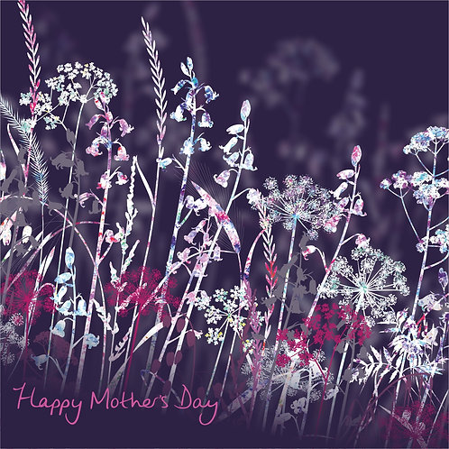 Flower Art / Floral Mother's day / Mothering Sunday Card 'Midnight Meadow' (Grasses, Cow Parsley)