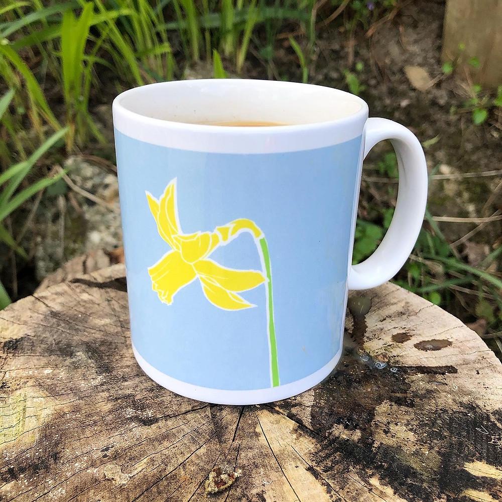 Stoneware daffodil mug