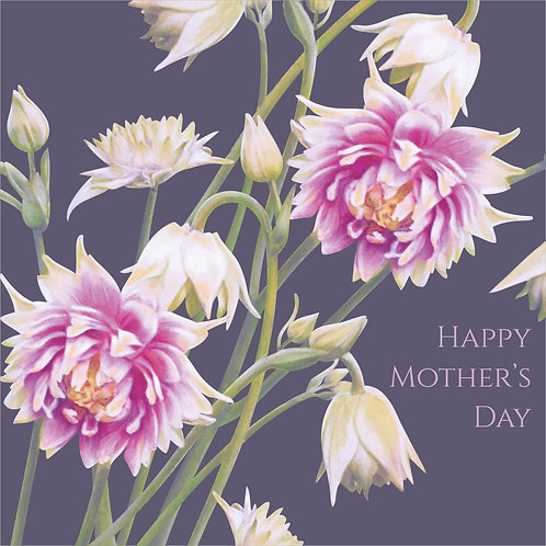 Flower Art / Floral Mother's day / Mothering Sunday Card 'Nora Barlow Blooms' (Aquilegia)