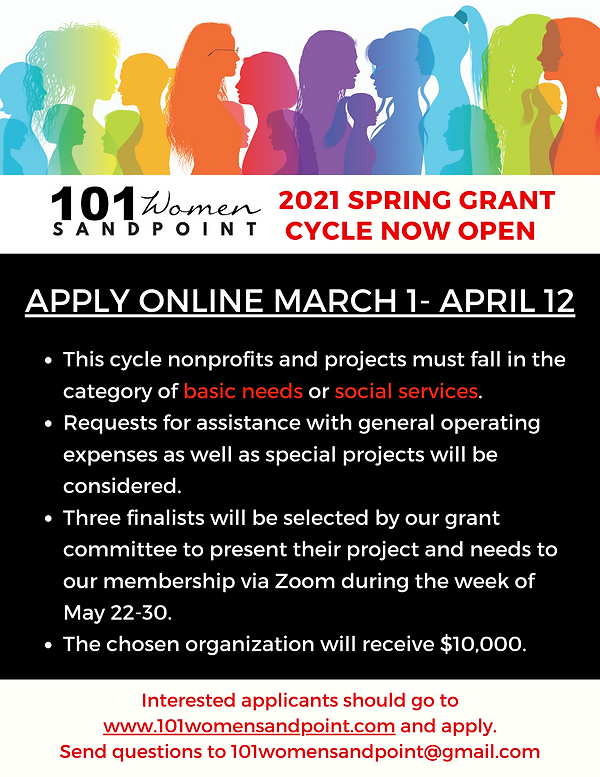 101 Women Sandpoint 2021 Spring Grant Cy