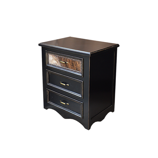 Black Bed Cowhide Nightstand