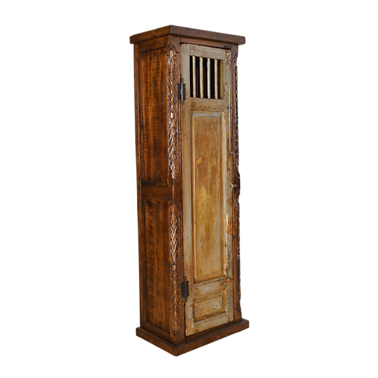 Old Door Armoire with Added Hand Carved Detail