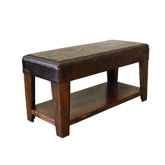 Hand-Stitched Leather Entry Bench