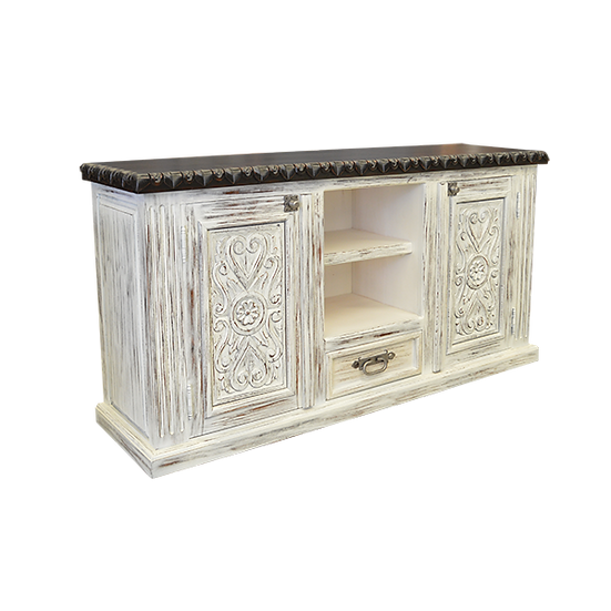 Hand Carved White Distressed Open Shelf Media Cabinet