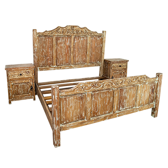 Hand Carved White Wash Bed