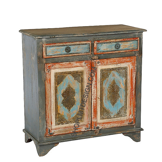 Two Door Two Drawer Cabinet in Turquoise Steel Applique