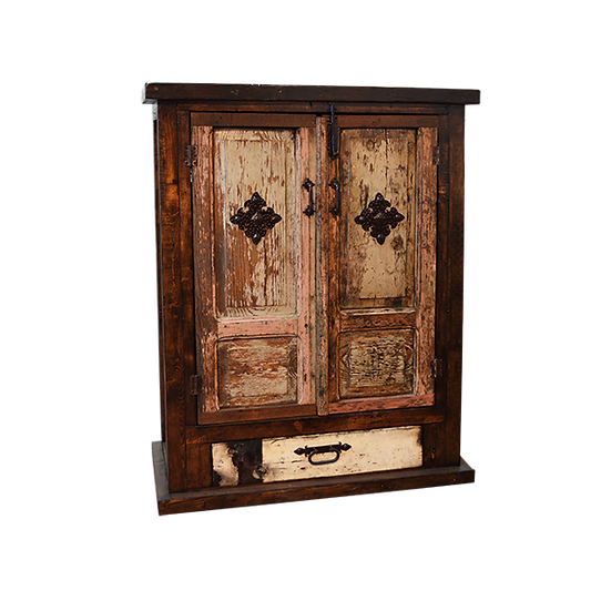 Armoire with Original Pink Wash Doors with Chapeton Insert