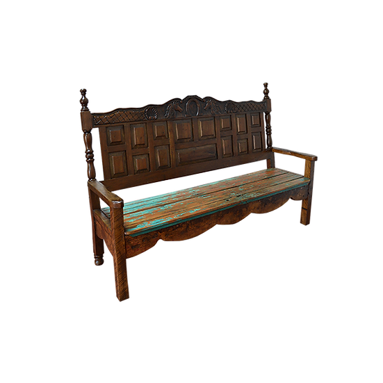 Bench with Carved Horse Themed Back
