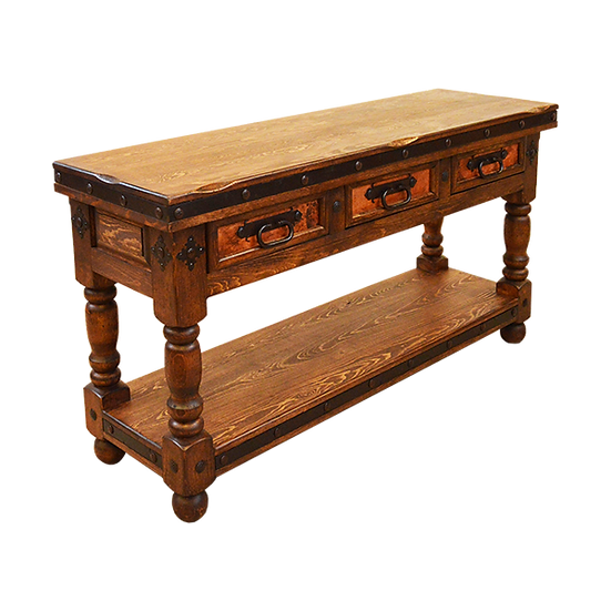 Three Drawer Copper Console - Natural