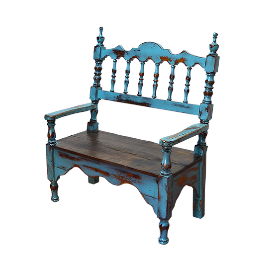 Turquoise Wash Finish Bench Made from Original Headboard