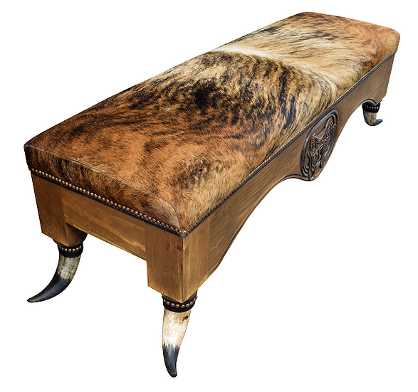 Custom Cowhide Bench with Horn Legs
